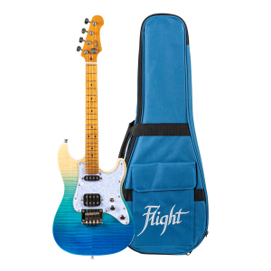Flight Pathfinder Solid Body Transparent Blue Electric Ukulele